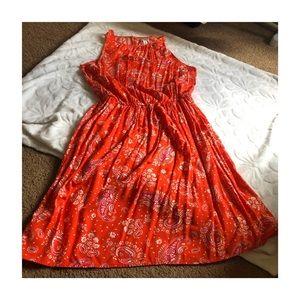 OLD NAVY Paisley Peplum High Neck Tank Dress